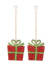 Fashion Red+green Gift Box Shape Decorated Earrings