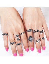 Fashion Silver Color Flower Shape Decorated Rings Sets