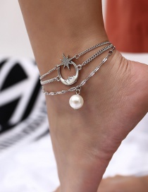 Fashion Silver Color Moon&star Shape Decorated Anklet