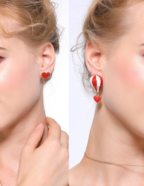Fashion Red+white Heart Shape Decorated Earrings