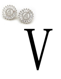 Fashion Silver Color Letter V Shape Decorated Earrings