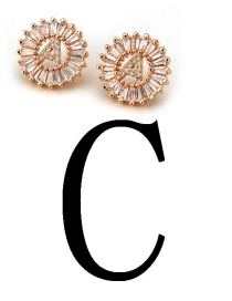 Fashion Rose Gold Letter C Shape Decorated Earrings