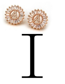 Fashion Rose Gold Letter I Shape Decorated Earrings
