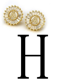 Fashion Gold Color Letter H Shape Decorated Earrings