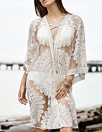 Sexy White Flower Pattern Decorated Blouse