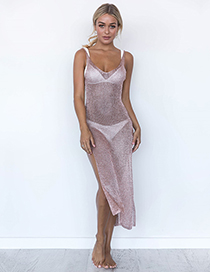 Sexy Pink Pure Color Decorated Suspender Dress