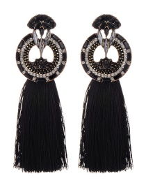 Fashion Black Geometric Shape Decorated Long Tassel Earrings