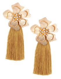 Fashion Yellow Flower Shape Decorated Tassel Earrings