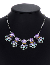 Fashion Multi-color Waterdrop Shape Decorated Necklace