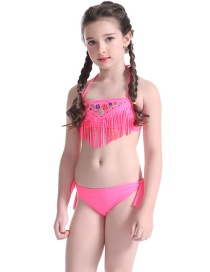 Sexy Pink Off-the-shoulder Design Tassel Swimwear(2pcs)