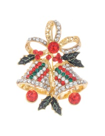 Fashion Multi-color Full Diamond Decorated Bell Shape Brooch