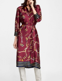 Fashion Red Butterfly Pattern Decorated Long Sleeves Dress