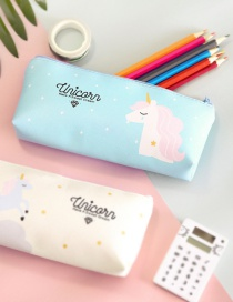 Fashion Blue Unicorn Pattern Decorated Pencil Bag