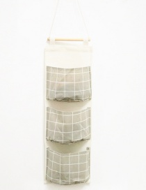 Fashion Gray+white Grid Pattern Decorated Storage Bag