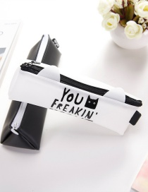 Fashion White Letter Pattern Decorated Pencil Bag