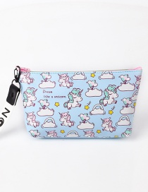 Fashion Blue Unicorn Pattern Decorated Storage Bag