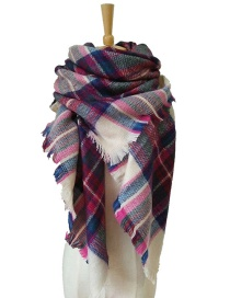 Fashion Pink+red Stripe Pattern Decorated Scarf
