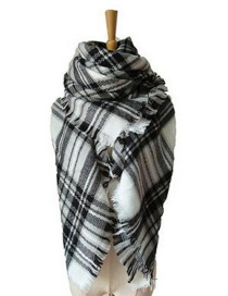 Fashion White+black Grid Pattern Decorated Scarf