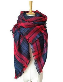 Fashion Red+blue Grid Pattern Decorated Scarf