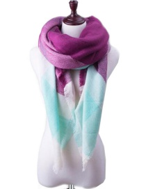 Fashion Purple Color Matching Decorated Scarf
