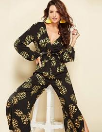 Fashion Black Pineapple Pattern Decorated Jumpsuit