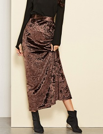 Fashion Coffee Pure Color Decorated Skirt