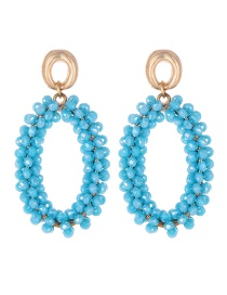 Fashion Blue Oval Shape Decorated Earrings