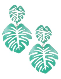 Fashion Green Hollow Out Design Leaf Pattern Earrings