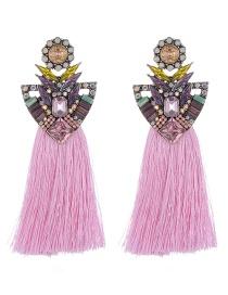 Fashion Pink Geometric Shape Decorated Tassel Earrings