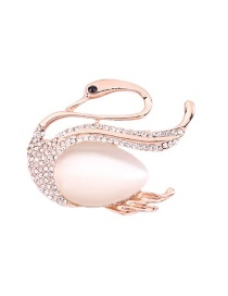 Fashion Rose Gold Swan Shape Decorated Brooch