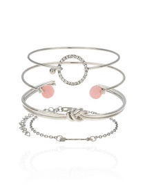 Fashion Silver Color Diamond Decorated Bracelet(4pcs)