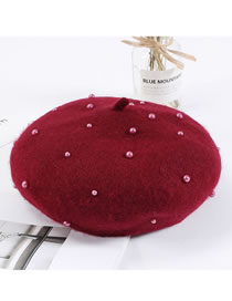 Fashion Claret Red Full Pearl Decorated Berets