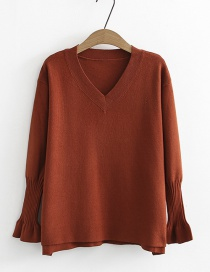 Fashion Orange V Neckline Design Pure Color Sweater