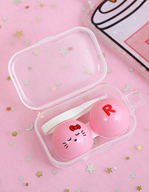 Fashion Pink Cat Pattern Decorated Contact Lens Box