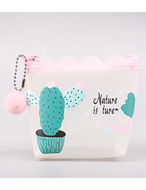 Fashion Green+white Cactus Pattern Decorated Coin Purse