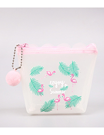 Fashion Pink+green Flamingo Pattern Decorated Coin Purse