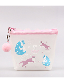 Fashion White+blue Cat Pattern Decorated Coin Purse