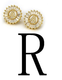 Fashion Gold Color Letter R Shape Decorated Earrings