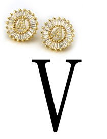Fashion Gold Color Letter V Shape Decorated Earrings
