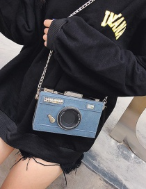 Fashion Blue Camera Shape Decorated Shoulder Bag