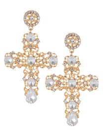 Fashion Gold Color Hollow Out Design Cross Shape Earrings