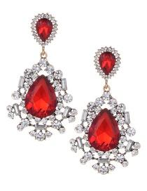 Fashion Red Full Diamond Design Waterdrop Shape Earrings