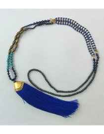 Bohemia Sapphire Blue Gemstone&tassel Decorated Long Necklace