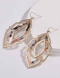 Fashion Gold Color Hollow Out Design Leaf Shape Earrings