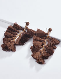 Fashion Brown Pure Color Decorated Tassel Earrings