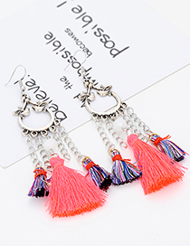 Fashion Orange Tassel Decorated Earrings