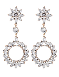 Fashion White Full Diamond Decorated Round Earrings