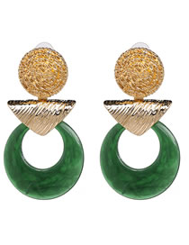 Fashion Green Geometric Shape Decorated Earrings