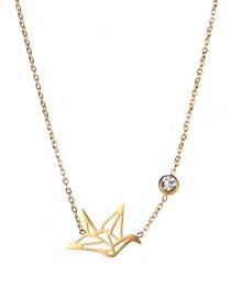 Fashion Gold Color Crane Shape Decorated Necklace