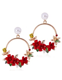 Fashion Red Flower Shape Decorated Round Earrings